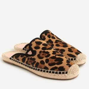 "{J. Crew} Leopard Calf HairEspadrille Mules""NEW"""